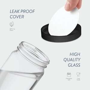 PAKSH NOVELTY Travel Glass Drinking Bottle (Mason Jar)